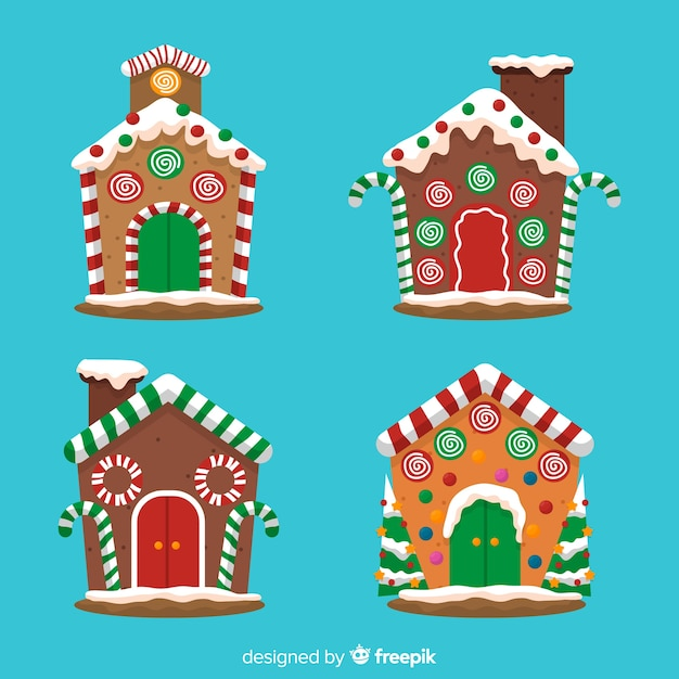 Gingerbread house collection Free Vector