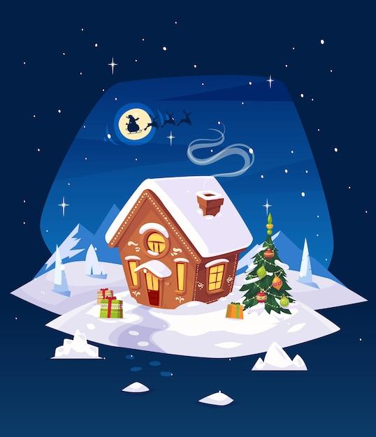 月のある森のジンジャーブレッドハウス。月を背景にしたサンタのシルエット。クリスマスカード、ポスターまたはバナー。ベクトルイラスト。 Premiumベクター
