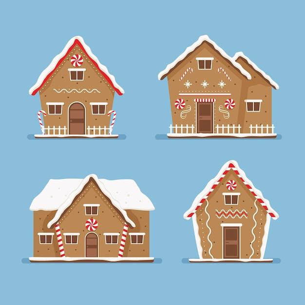 Gingerbread house pack design piatto Vettore gratuito