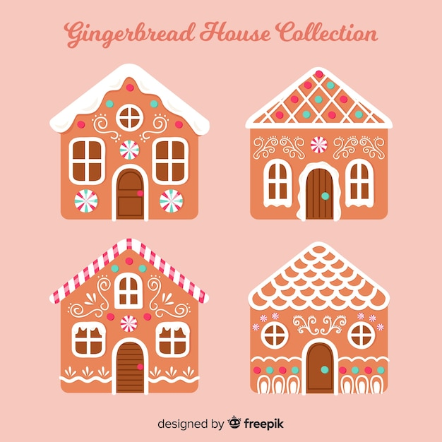 Gingerbread house pack Free Vector