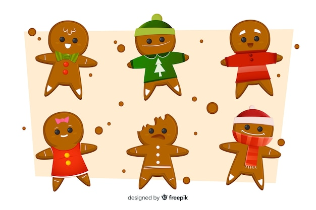Gingerbread man cookie collection for christmas Free Vector