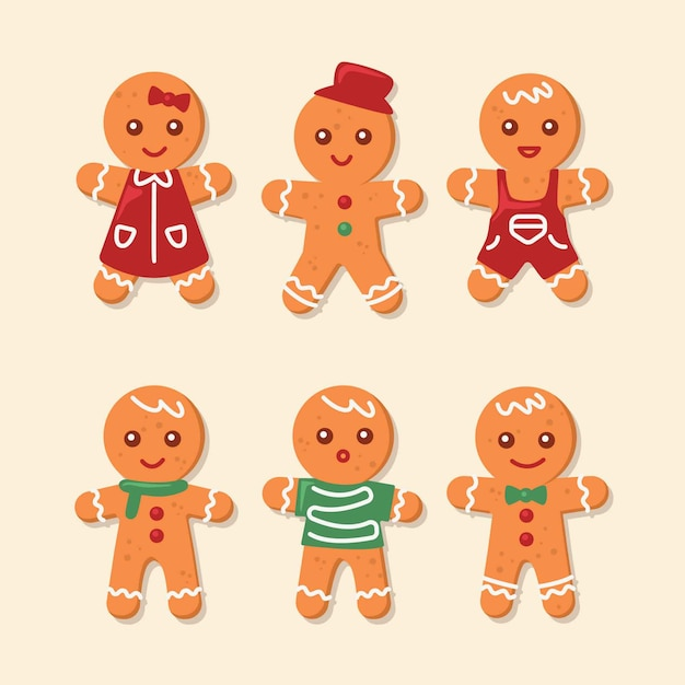 Gingerbread man cookie collection in flat design Free Vector