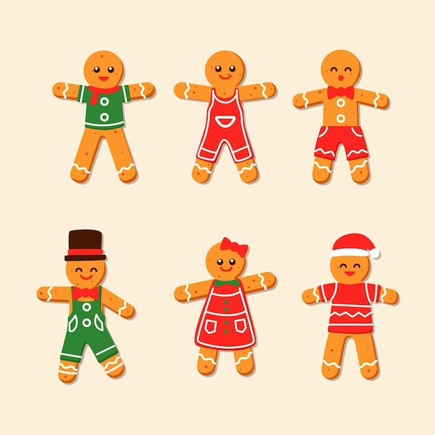 Gingerbread man cookie collection Free Vector