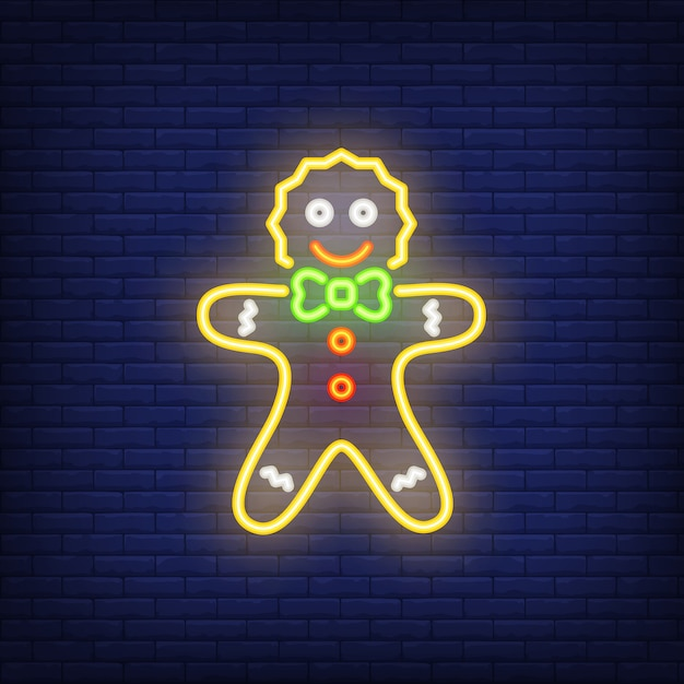Gingerbread man neon cartoon character. night bright advertisement element. Free Vector