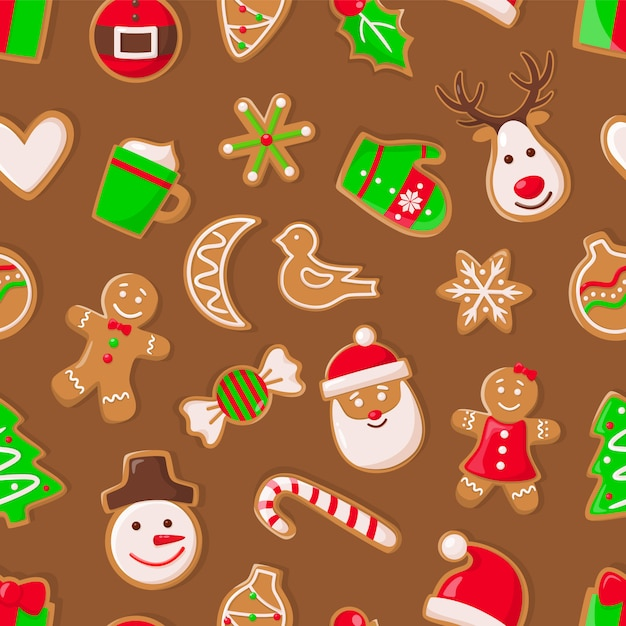Gingerbread man and santa claus reindeer pattern Premium Vector