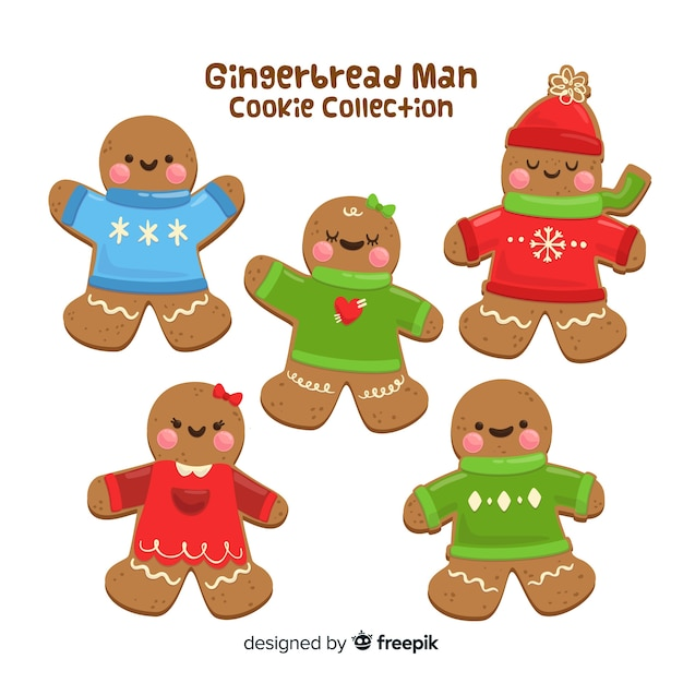 Gingerbread man with pullover collection Vettore gratuito