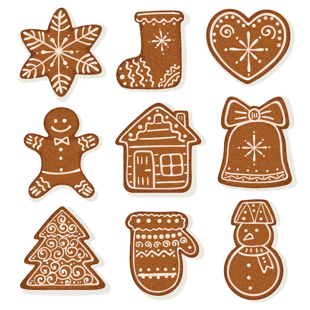 Gingerbread set collection Premium Vector