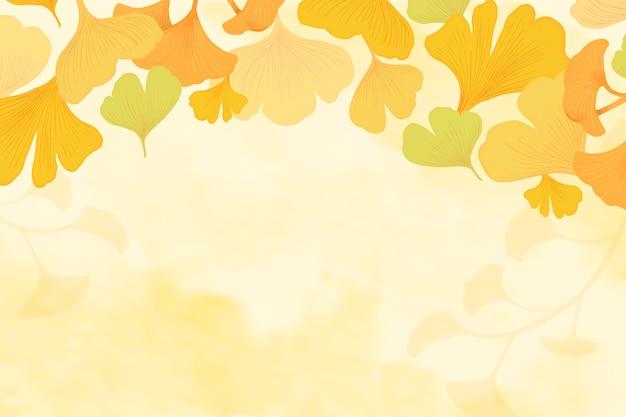 銀杏の葉の背景 無料ベクター