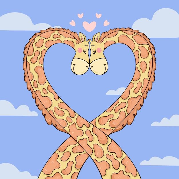 Giraffe couple in love tangling their necks Free Vector
