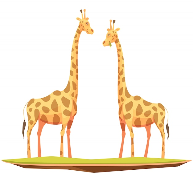 Giraffe couple Free Vector