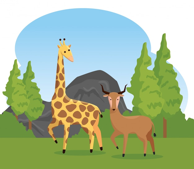 Giraffe and deer wild animals with trees Free Vector