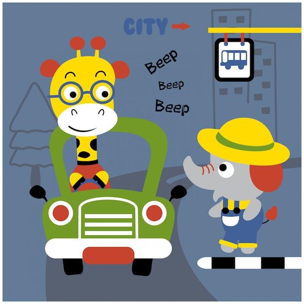 車を運転するキリン面白い動物漫画、イラスト Premiumベクター