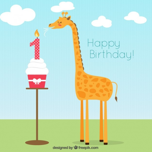 Giraffe Flat Birthday Card Vector Free Download