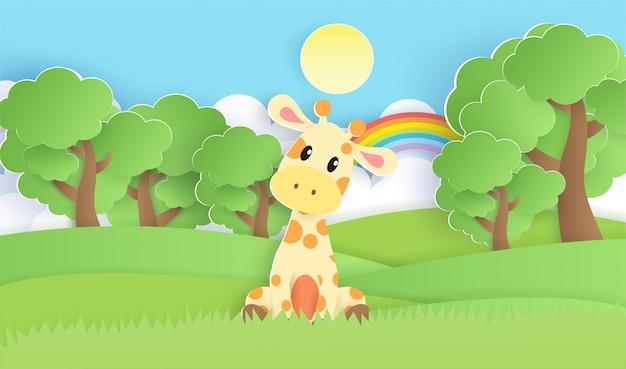 A giraffe in the forest . Premium Vector