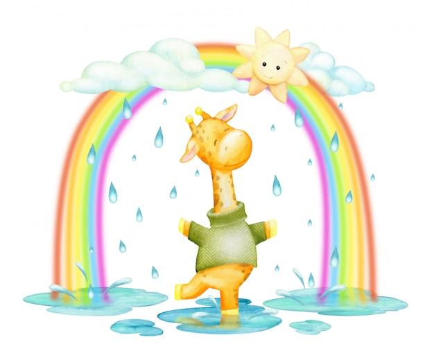 キリン、ジャンプ、雨と虹の中で、漫画のスタイルで水彩のクリップアート。 Premiumベクター
