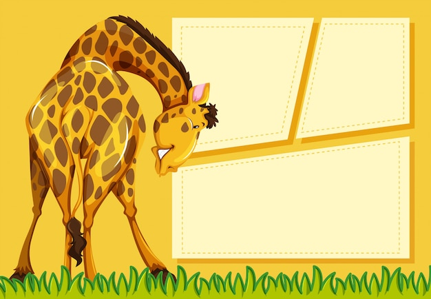 Giraffe on note background Free Vector