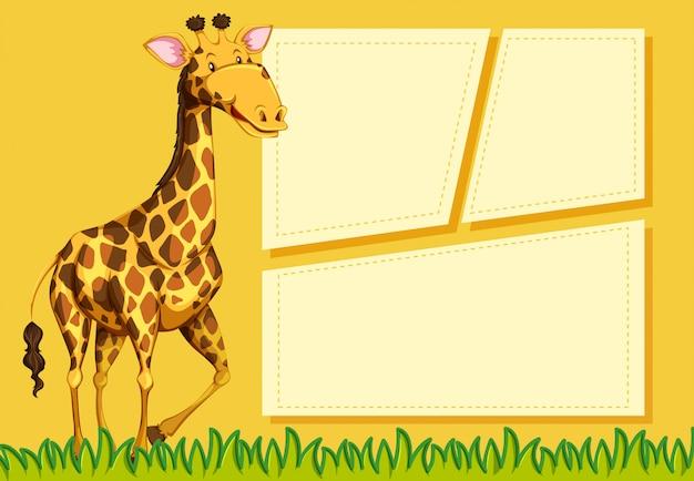 Giraffe on note template Free Vector
