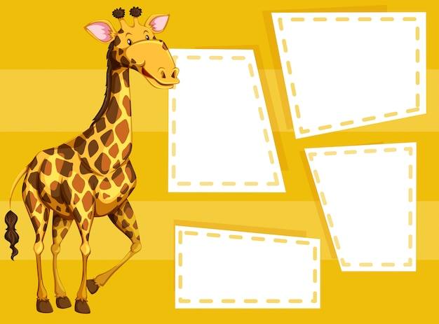 A giraffe on note template Free Vector