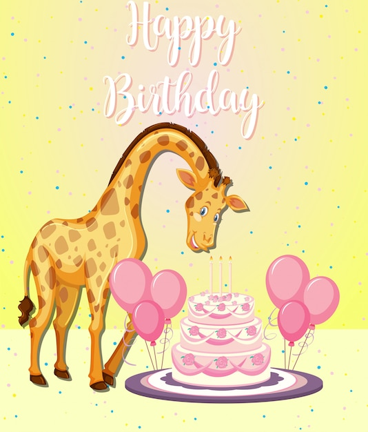 Giraffe at a party Free Vector