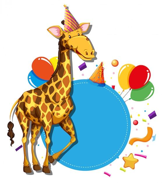Giraffe on paty border Free Vector
