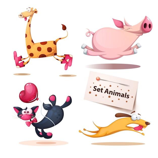 Giraffe, pig, cat, dog animals Premium Vector
