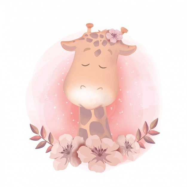 Giraffe portrait baby shower watercolor Premium Vector