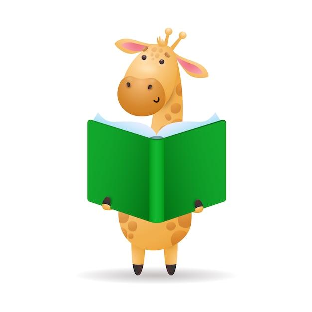Giraffe reading book illustration Free Vector