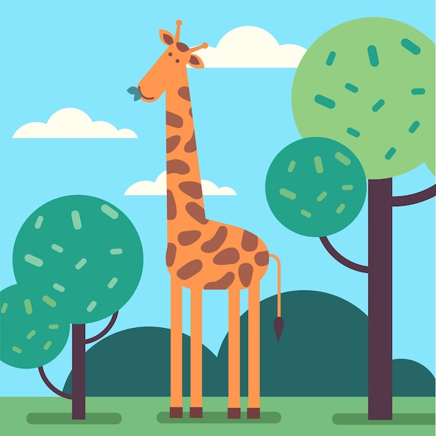 Giraffe standing tall and eating some tree leafs Free Vector