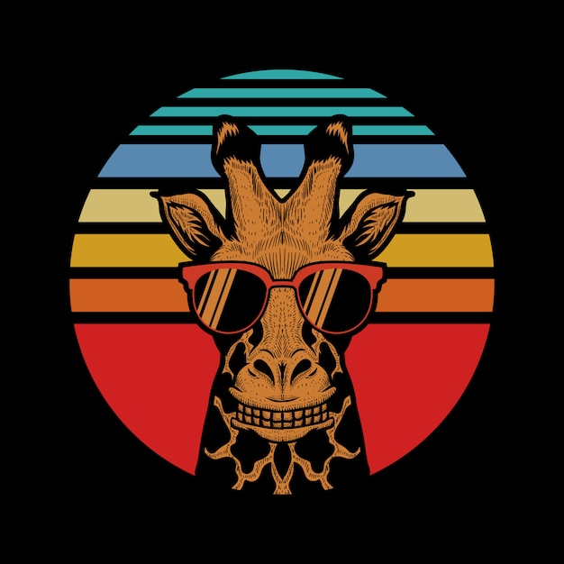 Giraffe sunset vector illustration Premium Vector