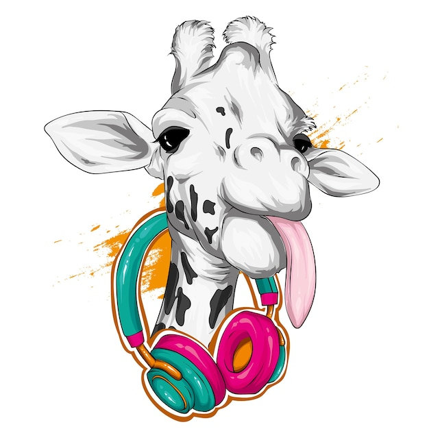 Giraffe with headphones.  wild animals. Premium Vector