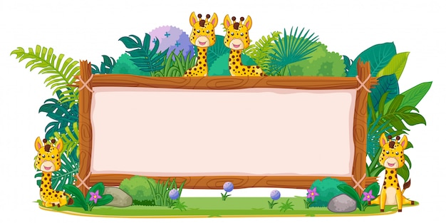 Giraffes with a blank sign wood Premium Vector