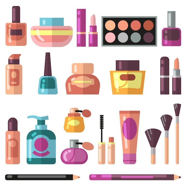 Girl accessories, beauty and makeup flat vector icons. Premium Vector