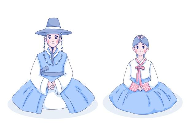 女の子と男の子のキャラクターの漫画イラスト。 Premiumベクター