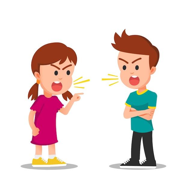 Девочка и мальчик дерутся или спорят с сердитыми лицами Premium векторы