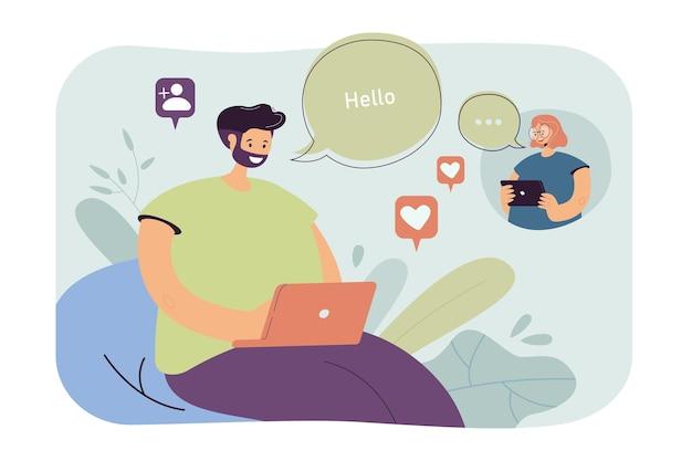 여자와 남자 사랑 온라인 채팅. 소셜 미디어에 메시지를 보내는 커플. 만화 그림 무료 벡터