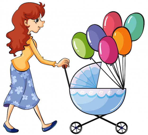 A girl and baby pram Free Vector
