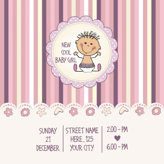 Girl baby shower card   Free Vector