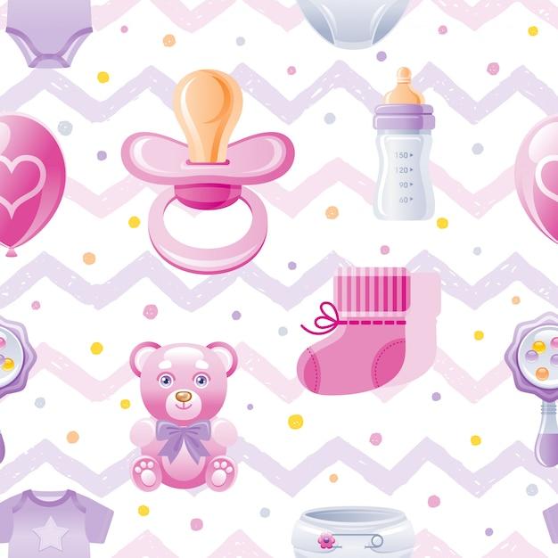 Girl baby shower seamless pattern Premium Vector