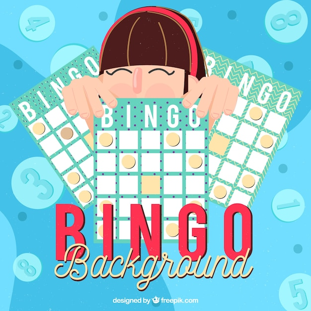 Sfondo della ragazza con i ballots del bingo Vettore gratuito