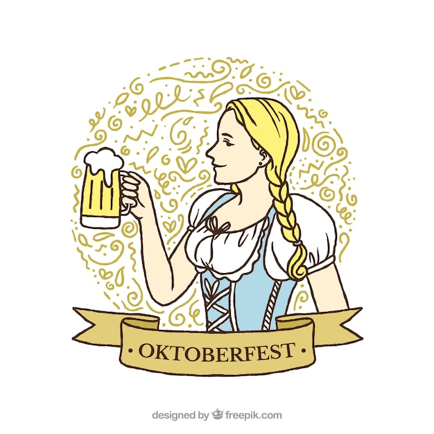 Girl background with traditional oktoberfest dress and a beer Free Vector