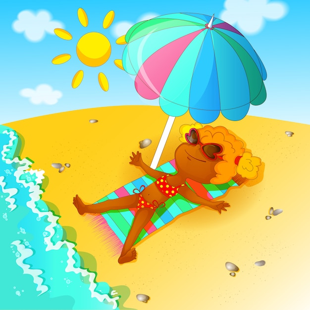 A girl in a bathing suit sunbathes over the beach Premium Vector