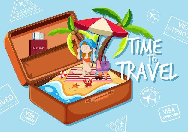 A girl on the beach in suitcase Free Vector