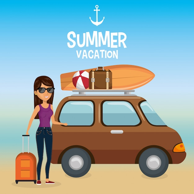 Girl in the beach with summer vacations Free Vector