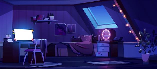 Интерьер спальни девушки на чердаке ночью Бесплатные векторы