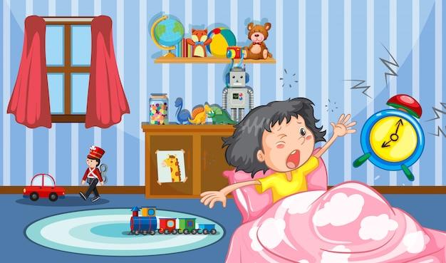 Girl in the bedroom Free Vector