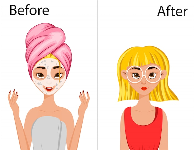 Girl before and after hair styling. cartoon style.  illustration. Premium Vector