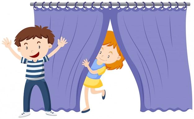 青いカーテンの後ろの女の子 無料ベクター