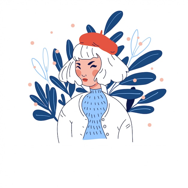 Girl in beret on floral background Premium Vector