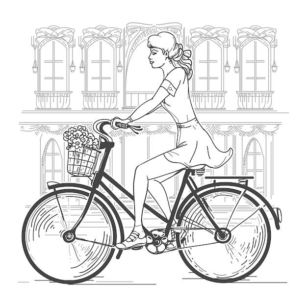Велосипедист девушка в париже. досуг молодая женщина, городские путешествия, город моды. рука нарисованные красивая девушка в париже векторные иллюстрации Бесплатные векторы