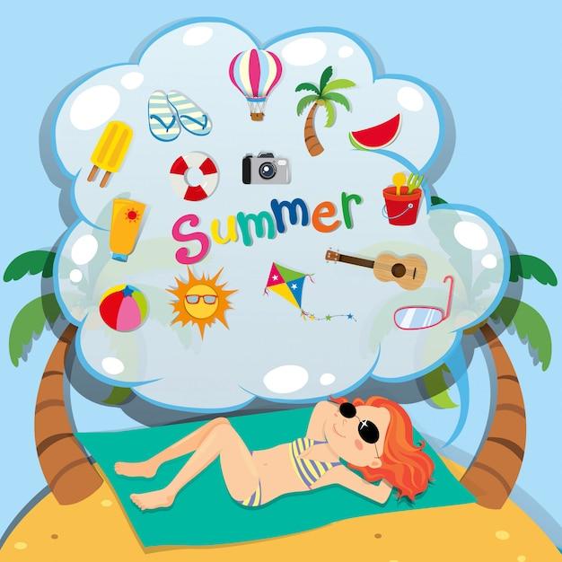 Girl in bikini sunbathing on the beach Free Vector